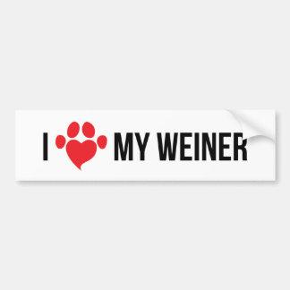 I Love My Weiner Bumper Sticker 2