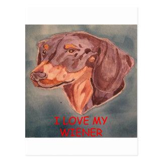 I Love My Weiner Postcard