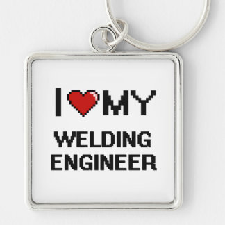 I love my Welding Engineer Silver-Colored Square Keychain