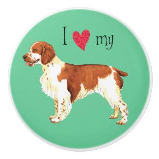 I Love my Welsh Springer Spaniel Ceramic Knob