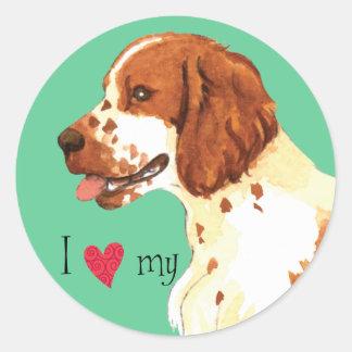 I Love my Welsh Springer Spaniel Classic Round Sticker