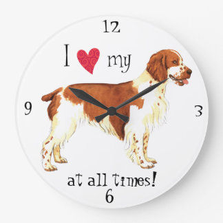 I Love my Welsh Springer Spaniel Large Clock