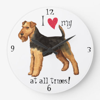 I Love my Welsh Terrier Large Clock
