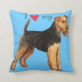 I Love my Welsh Terrier Throw Pillows