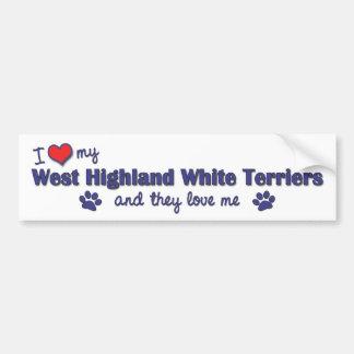 I Love My West Highland White Terrier (Multi Dogs) Bumper Sticker