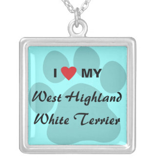 I Love My West Highland White Terrier (Westie) Square Pendant Necklace