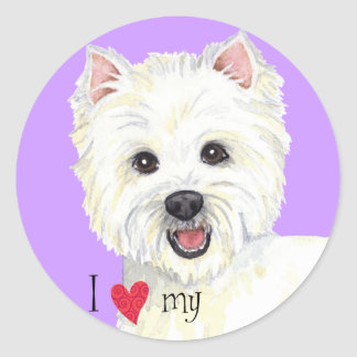 I Love my Westie Classic Round Sticker