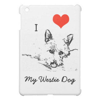 I Love My Westie Dog, black and white Sketch iPad Mini Cases