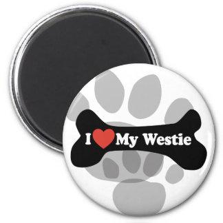 I Love My Westie - Dog Bone 2 Inch Round Magnet