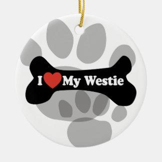 I Love My Westie - Dog Bone Ceramic Ornament