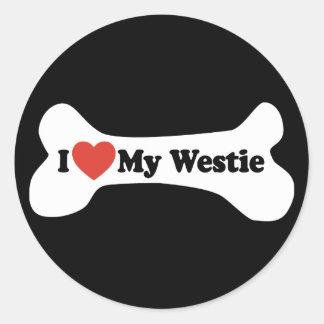 I Love My Westie - Dog Bone Round Sticker