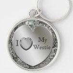 I Love My Westie Heart Keychain