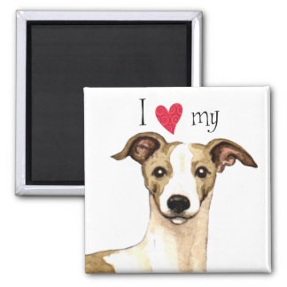 I Love my Whippet 2 Inch Square Magnet