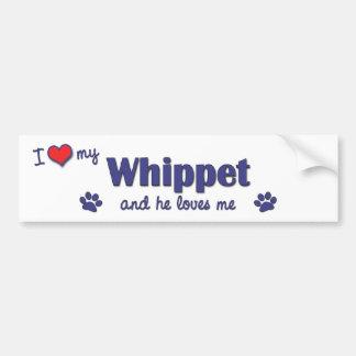 I Love My Whippet (Male Dog) Car Bumper Sticker