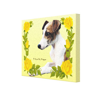 I Love My Whippet with Yellow Roses Canvas Print