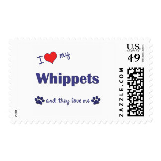 I Love My Whippets (Multiple Dogs) Stamps