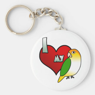 I Love my White Bellied Caique Keychain