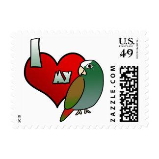 I Love my White Capped Pionus Stamps