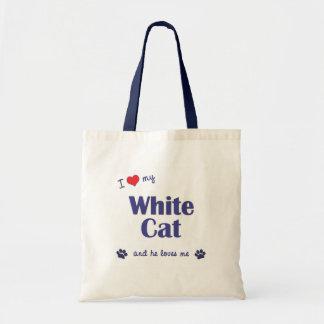 I Love My White Cat (Male Cat) Tote Bag