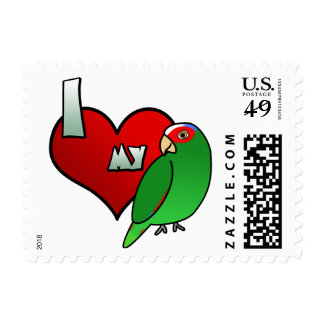 I Love my White Fronted Amazon Postage Stamps