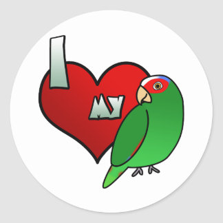 I Love my White Fronted Amazon Stickers