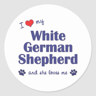 I Love My White German Shepherd (Female Dog) Stickers