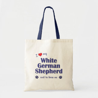 I Love My White German Shepherd (Male Dog) Budget Tote Bag