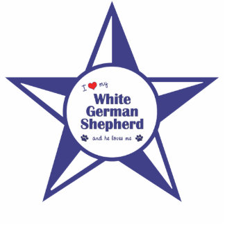 I Love My White German Shepherd (Male Dog) Photo Sculpture