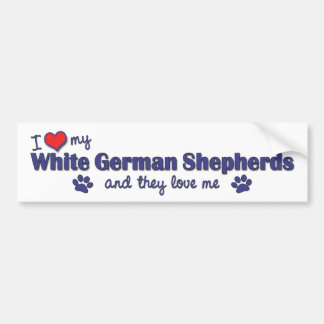 I Love My White German Shepherds (Multiple Dogs) Bumper Sticker