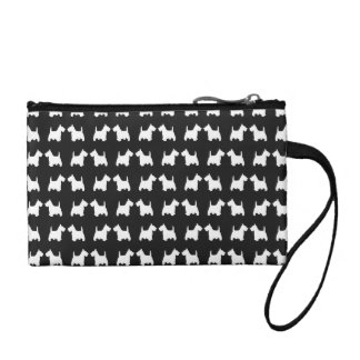 I Love My White Scottie Dog Silhouette Pattern Coin Wallet