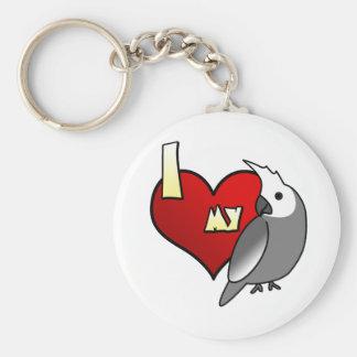 I Love my Whiteface Cockatiel Basic Round Button Keychain