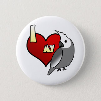I Love my Whiteface Cockatiel Button