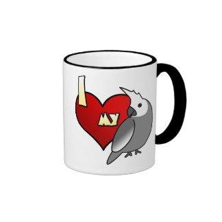 I Love my Whiteface Cockatiel Ringer Mug