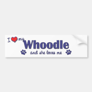 I Love My Whoodle (Female Dog) Bumper Sticker