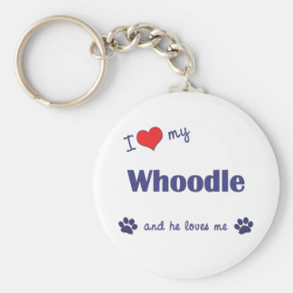 I Love My Whoodle Male Dog Key Chain