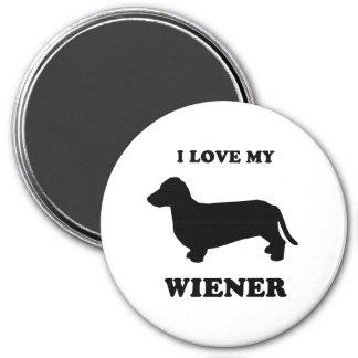I love my wiener 2 3 inch round magnet