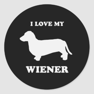 I love my wiener 2 classic round sticker