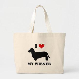 I love my wiener jumbo tote bag
