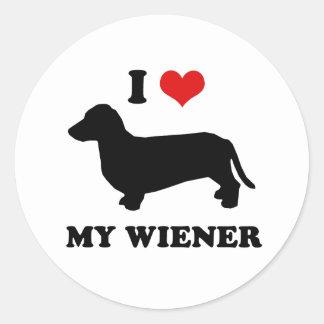 I love my wiener classic round sticker