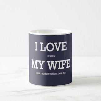 I love my wife and guns coffee mug