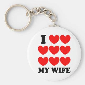 I Love My Wife Basic Round Button Keychain