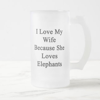 I Love My Wife Because She Loves Elephants Frosted Glass Beer Mug