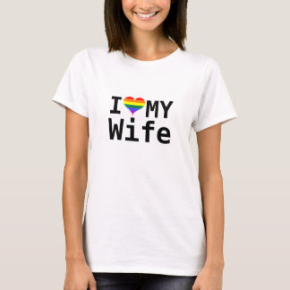 I Love My Wife Gay Pride Heart T-Shirt