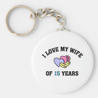 I love my wife of 15 years basic round button keychain