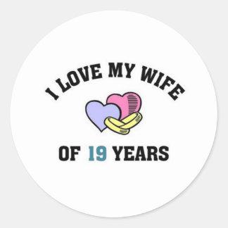 I love my wife of 19 years classic round sticker