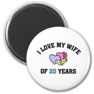 I love my wife of 20 years fridge magnets