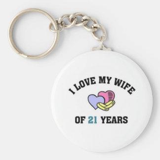 I love my wife of 21 years keychain