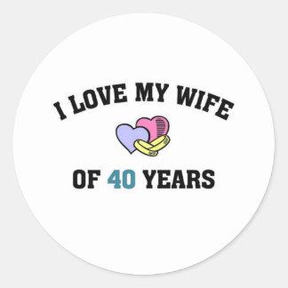 I love my wife of 40 years round sticker