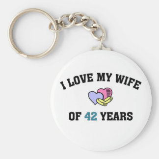I love my wife of 42 years basic round button keychain