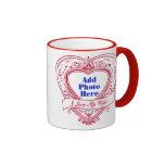 I Love My Wife! - Photo Red Hearts Ringer Coffee Mug